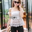 Lady Ribbon Closet เสื้อผ้าเกาหลี LR06140716 &#x1F380 Lady Ribbon's Made &#x1F380 Self-Portrait Off-Shoulder White Lace Corset เสื้อเปิดไหล่ thumbnail 5