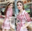 Lady Ribbon's Made &#x1F380 Lady Susan Double-Breast Checked Pink Trench Coat Korea thumbnail 2