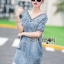 Lady Ribbon's Made &#x1F380 Lady Laura Sext Casual Deep V-Neck Denim Dress thumbnail 6