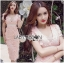 Lady Ribbon Korea Dressเสื้อผ้า LR21010816 &#x1F380 Lady Ribbon's Made &#x1F380 Lady Gabriella Sexy Feminine Flower Embroidered Pinky Dress เดรสผ้าลูกไม้สีชมพู thumbnail 1