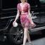Lady Ribbon Korea Cutting LV10200616 &#x1F36DKorea Clo By Lavida golden shiny embroidery romany printed luxury dress thumbnail 1