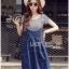 Lady Ribbon Korea Denim Dress LR21130616 &#x1F380 Lady Ribbon's Made &#x1F380 Lady Alexa Street Chic Striped T-Shirt with Denim Overall Dress thumbnail 3