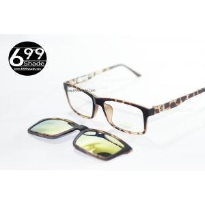 [LD7004 ลายกระ-ปรอททอง] กรอบแว่นคลิปออนแม่เเหล็ก เบา ยืดหยุ่น บิดงอได้