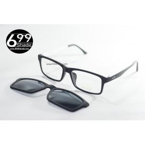 [LD7004 ดำด้านขาขาว] กรอบแว่นคลิปออนแม่เเหล็ก เบา ยืดหยุ่น บิดงอได้