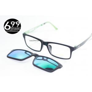 [LD7004 ปรอทเขียว] กรอบแว่นคลิปออนแม่เเหล็ก เบา ยืดหยุ่น บิดงอได้