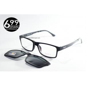 [SOFT 8051 ดำด้าน] กรอบแว่นคลิปออนแม่เเหล็ก เบา ยืดหยุ่น บิดงอได้
