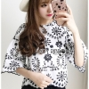 🎀 Lady Ribbon's Made 🎀Lady Abigail Black and White Flower Laser-Cut Cotton Blouse