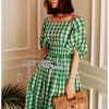 🎀 Lady Ribbon's Made 🎀Lady Hazel Easy Summer Off-Shoulder Checked Dress