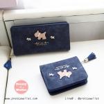 กระเป๋าสตางค์ ใบยาว สีน้ำเงิน รุ่น Puppies Wallet