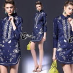 Cliona Made' Embroidered Royal Line Long Sleeves Shirt Dress