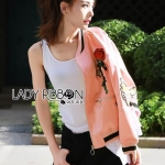 &#x1F380 Lady Ribbon's Made &#x1F380 Lady Esthelle Sporty Feminine Red Roses Embroidered Pink Bomber Jacket