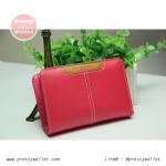 กระเป๋าสตางค์หนังแท้ผู้หญิง กระเป๋าสตางค์ Oudishengma สีชมพู ใบกลาง