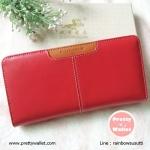 กระเป๋าสตางค์ Oudishengma สีแดง ใบยาว