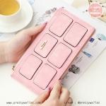กระเป๋าสตางค์ ใบยาว สีชมพู รุ่น Duo Cube Wallet