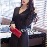 &#x1F380 Lady Ribbon's Made &#x1F380 Lady Alice Smart Casual Flare-Sleeve Suit Dress