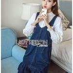 🎀 Lady Ribbon's Made 🎀 Lady Danielle Preppy Denim Dress Over White Cotton Shirt Set