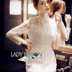 &#x1F380 Lady Ribbon's Made &#x1F380 Lady Morgan Elegant Feminine High-Neck Lace Dress