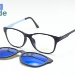 [LD รุ่น 7015 ดำฟ้า] กรอบแว่นคลิปออนแม่เหล็ก เบา ยืดหยุ่น บิดงอได้ ส่งฟรี