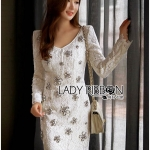 🎀 Lady Ribbon's Made 🎀 Lady Aerin Sparkling Glow Embellished Lace Dress in White