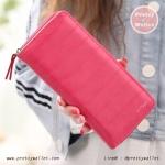 กระเป๋าสตางค์ ใบยาว Pretty Zys สีชมพูเข้ม รุ่น Striped Cute