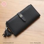 กระเป๋าสตางค์ ใบยาว สีดำ รุ่น vivi