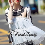Ivory layered embroidered blouse and black pants set by Sweet Bunny