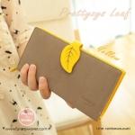 กระเป๋าสตางค์ ใบยาว Pretty Zys สีเหลือง แต่งใบไม้