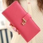 กระเป๋าสตางค์ ใบยาว สีชมพูเข้ม รุ่น Pretty Clover
