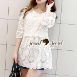Seoul Secret Say's... Creamy Pleaty Lace Mini Dress