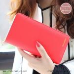 กระเป๋าสตางค์ ใบยาว สีแดงแตงโม รุ่น Beauty KQueenStar