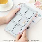 กระเป๋าสตางค์ ใบยาว สีฟ้า รุ่น Duo Cube Wallet