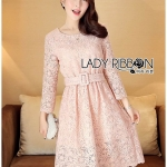 &#x1F380 Lady Ribbon's Made &#x1F380 Lady Aliza Classic Vintage Plain Lace Dress with Belt