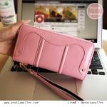 กระเป๋าสตางค์ Oudishengma สีชมพู ใบยาว ซิปรอบ