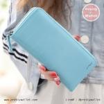 กระเป๋าสตางค์ ใบยาว Pretty Zys สีฟ้า รุ่น Striped Cute