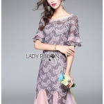 🎀 Lady Ribbon's Made 🎀Lady Hudson Ruffle Grey & Pink Lace Dress