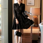Cliona made' Miss Dior Black Lace Long Sleeves Dress - Mini dress