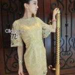 Cliona made' Linda Golden Pretty Luxury Dress - Mini Dress