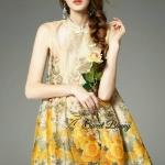Sweet Bunny Present... Floral Print Flared Hem Yellow Dress