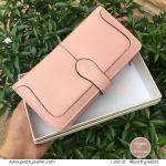 กระเป๋าสตางค์ Oudishengma สีชมพูอ่อน ใบยาว รุ่น Button