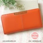 กระเป๋าสตางค์ Oudishengma สีส้ม ใบยาว