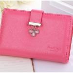 กระเป๋าสตางค์ ใบกลาง สีชมพูเข้ม รุ่น Pretty Clover