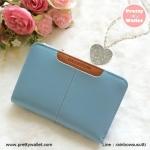กระเป๋าสตางค์ Oudishengma สีฟ้า ใบสั้น