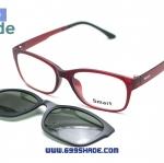 [Smart 8001 แดงด้าน] กรอบแว่นคลิปออนแม่เเหล็ก