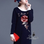 Korea Design By Lavida embroidered red roses sweater dress