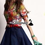 """Vivivaa recommend """"Clorly flora shirt denim skirt dress"""""""
