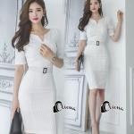 Cliona Made' Simplicity White + Fine Black Line Daily Dress