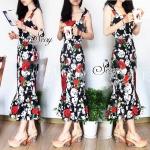 Sevy Forked Spade Flora Ribbon Shoulder Mini Dress