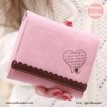 กระเป๋าสตางค์ ใบสั้น สีชมพู รุ่น Pretty Heart