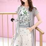 Seoul Secret Say's... Girly Bohe Flora Print Chiffon Long Outer Set