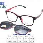 [SOFT 8056 กรอบดำแดง-คลิปออนดำ] กรอบแว่นคลิปออนแม่เเหล็ก